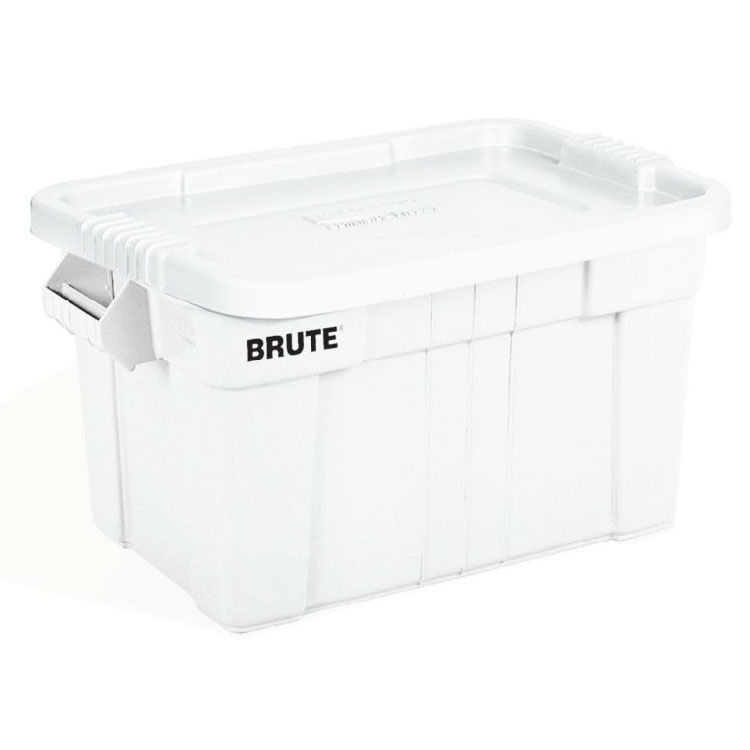 Rubbermaid FG9S3100 WHT 20-gal BRUTE Tote with Lid - White