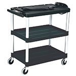 "Rubbermaid FG9T3000 BLA 3-Shelf Audio-Visual Cart - 200-lb Capacity, Power Strip, 4"" Castors, Black"