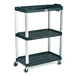 "Rubbermaid FG9T3300 BLA 3-Shelf Audio-Visual Cart - 300-lb Capacity, Power Strip, 4"" Castors, Black"