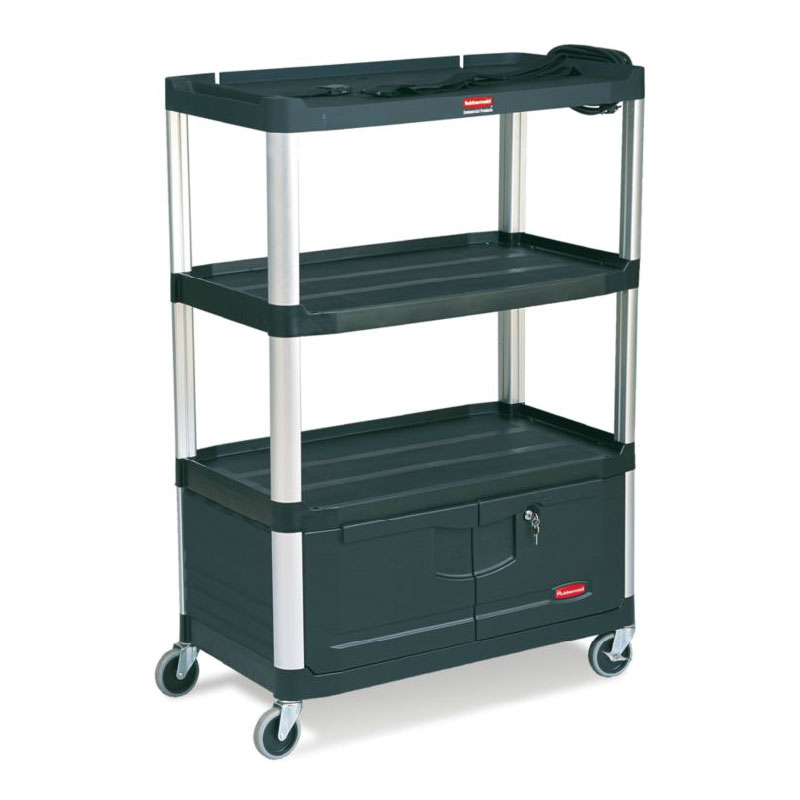 Rubbermaid FG9T3500 BLA 4-Shelf Audio-Visual Cart with Cabinet - 300-lb Capacity, Power Strip, Black