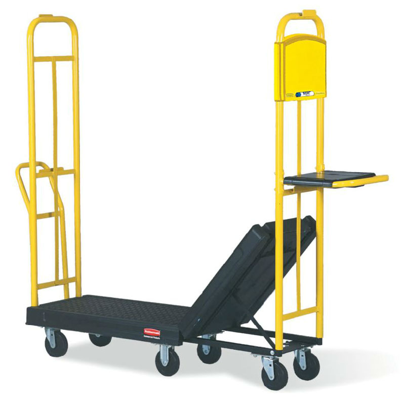 "Rubbermaid FG9T4500 BLA Restocking Truck with Hinging Deck - 1800-lb Capacity, 63x18x10-1/4"" Black"