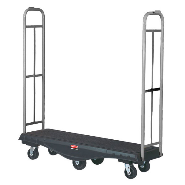 Rubbermaid FG9T5600 BLA Restocking Truck with Utility Deck - 1500-lb Capacity, Black