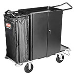 Rubbermaid FG9T5900 BLA Cruise Narrow Housekeeping Cart - 3-Shelf, 10 cu ft Capacity, Black