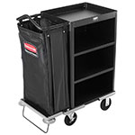 "Rubbermaid FG9T6100 BLA Compact Housekeeping Cart w/ 3-Shelves, 49""L x 22""W x 50""H, Black"