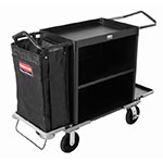 Rubbermaid FG9T6200 BLA High Capacity Housekeeping Cart - 2-Shelf, 9 cu ft Capacity, Black