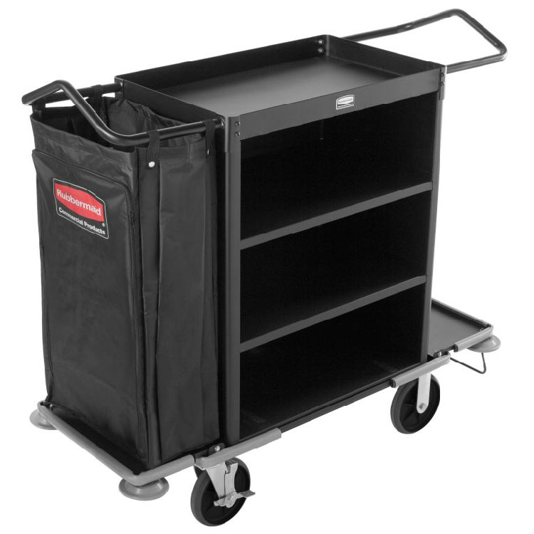Rubbermaid FG9T6300 BLA Deluxe High Capacity Housekeeping Cart - 3-Shelf, 11 cu ft Capacity, Black