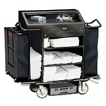 Rubbermaid FG9T6400 BLA Deluxe High Security Housekeeping Cart - 3-Shelf, 15.3 cu ft Capacity, Black