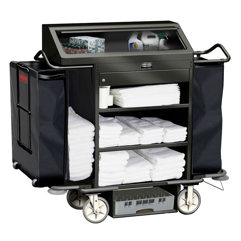 Rubbermaid FG9T6400 BLA Deluxe High Security Housekeeping Cart - 3-Shelf, 15.3 cu ft Capacity, Black