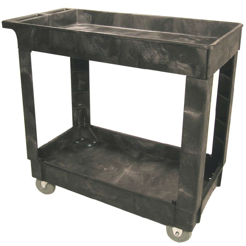 Rubbermaid FG9T6600 BLA 2-Level Polymer Utility Cart w/ 500-lb Capacity, Raised Ledges