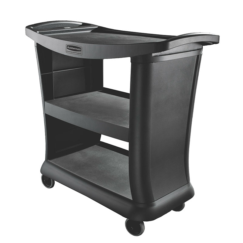 Rubbermaid FG9T6800 BLA 3-Level Polymer Utility Cart w/ 300-lb Capacity, Raised Ledges