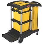 Rubbermaid FG9T7200 BLA Janitor Cart w/ Holds Mop Bucket, Black/Yellow