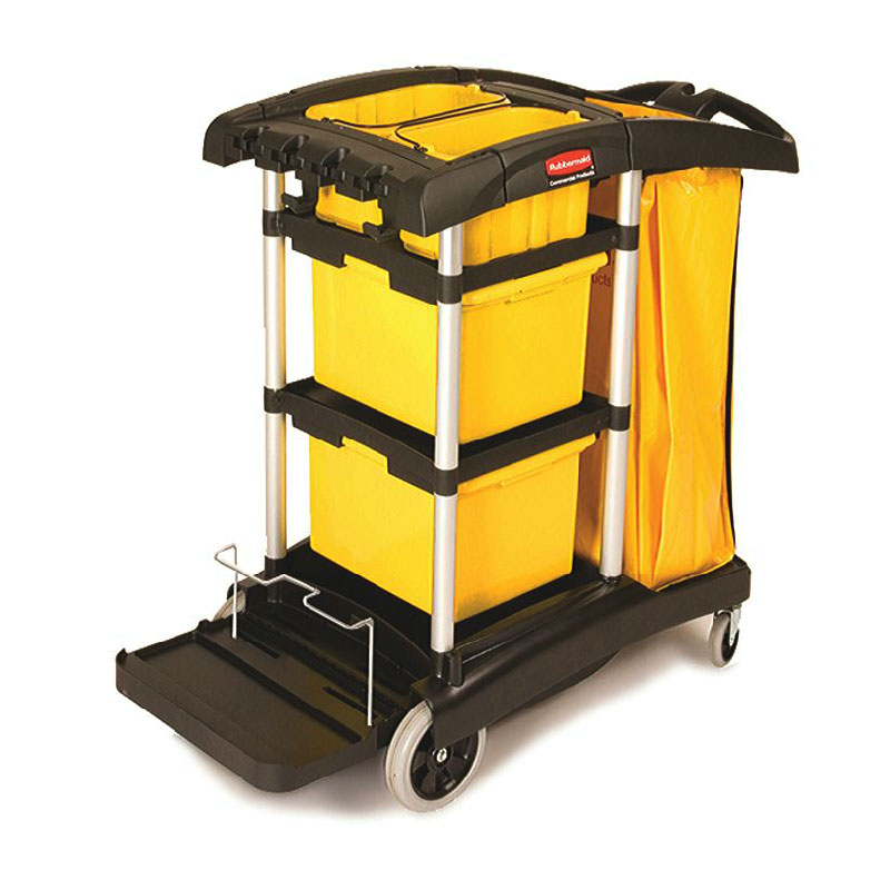 Rubbermaid FG9T7300 BLA Janitor Cart w/ Tub Accommodation...