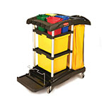 Rubbermaid FG9T7400 BLA Janitor Cart w/ Tub Accommodation, Black/Yellow