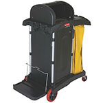 Rubbermaid FG9T7500 BLA Janitor Cart w/ Dome Top, Black/Yellow