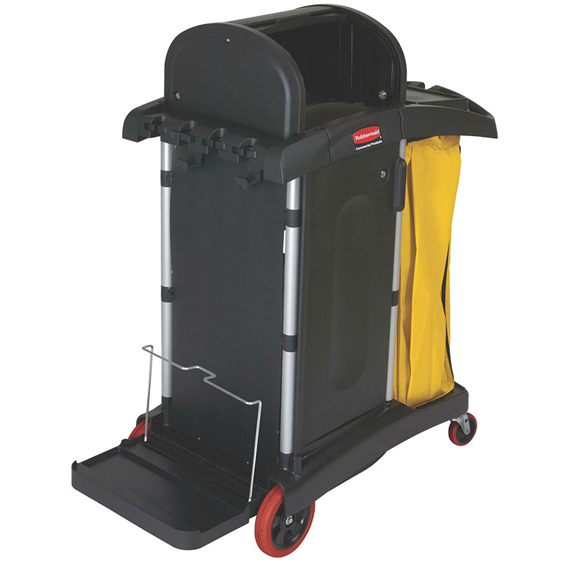 Rubbermaid FG9T7500 BLA High Security Cleaning Cart - Locking Cabinet, Lock 'N Go Attachment, Black