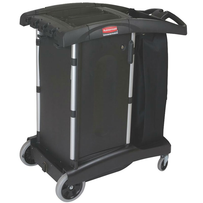 Rubbermaid FG9T7700 BLA High Capacity Ultra-Compact Housekeeping Cart - Black