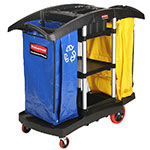Rubbermaid FG9T7900 BLA Janitor Cart w/ 2-Waste Hampers, Black/Yellow