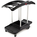 Rubbermaid FG9T9200 BLA Janitor Cart, Holds 2-Waste Hampers, Black
