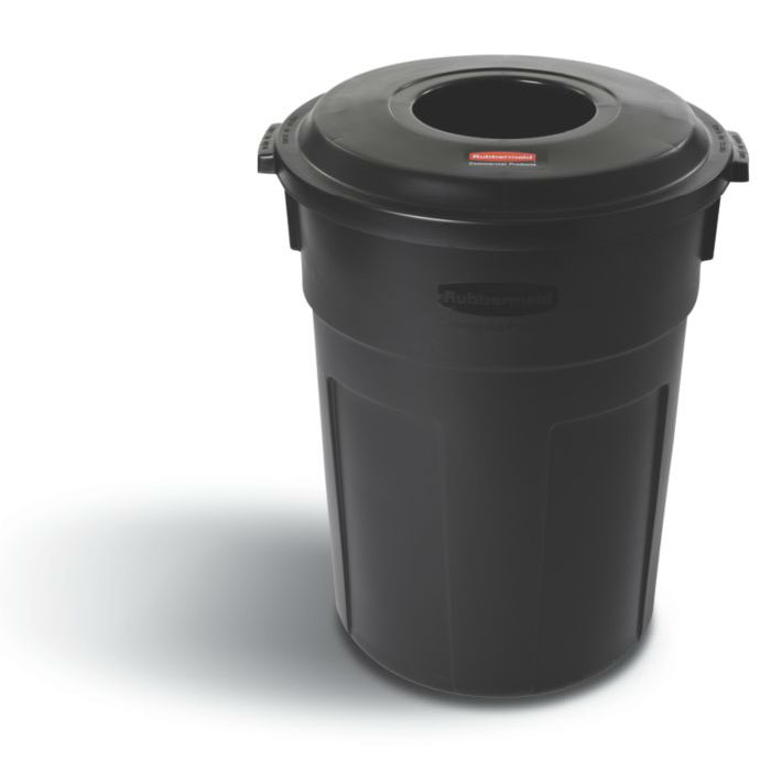 Rubbermaid FG9W1400BLA 32-gallon Commercial Trash Can - Plastic, Round, Lid