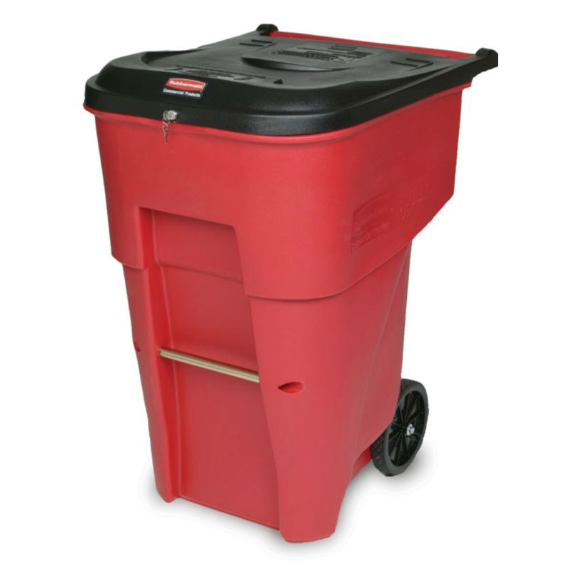 Rubbermaid FG9W1900 RED 65-gal BRUTE Medical Waste Container - Key Lock, Red