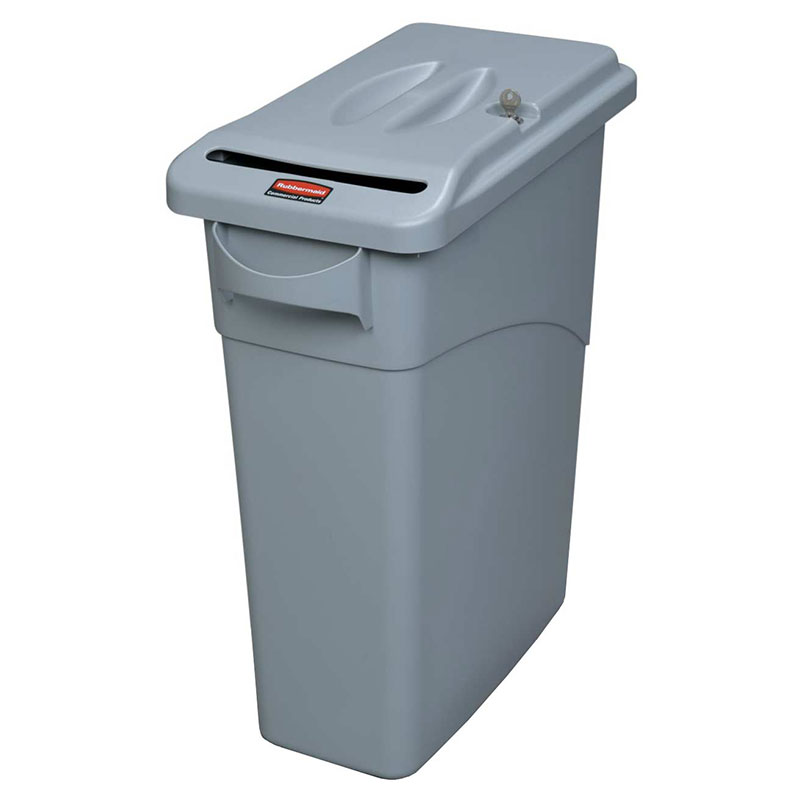 Rubbermaid FG9W2500LGRAY 16-gal Slim Jim Confidential Document Container with Lid - Light Gray