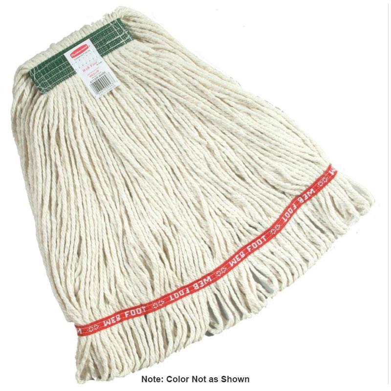 "Rubbermaid FGA11206 GR00 Medium Wet Mop Head - 1"" Headband, Cotton/Synthetic Blend, Green"