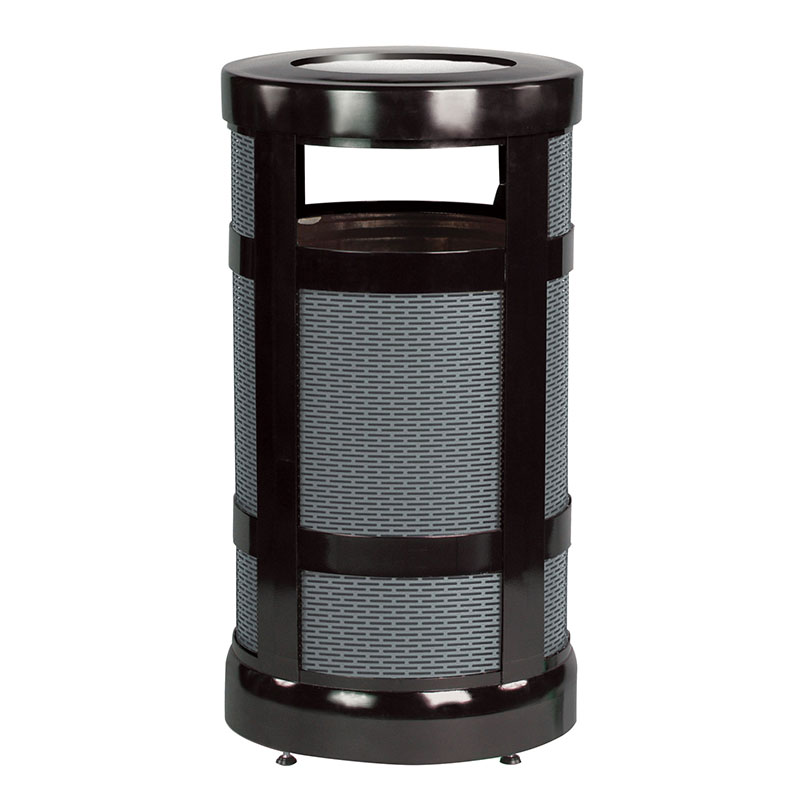 Rubbermaid FGA17SUBKPL 17-gal Architek Waste Receptacle - Radius Urn Top, Black/Anthracite