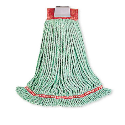 "Rubbermaid FGA21106 GR00 Small Wet Mop Head - 1"" Headband, 4-Ply Cotton/Synthetic Blend, Green"