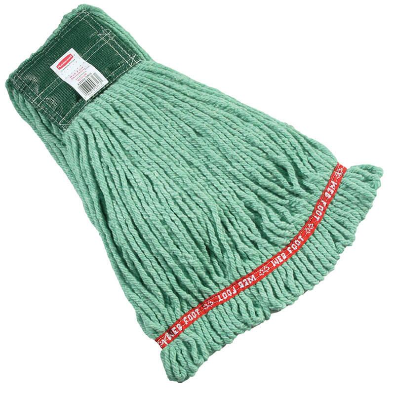 "Rubbermaid FGA21206  GR00 Medium Wet Mop Head - 1"" Headband, 4-Ply Cotton/Synthetic Blend, Green"