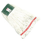 "Rubbermaid FGA21206  WH00 Medium Wet Mop Head - 1"" Headband, 4-Ply Cotton/Synthetic Blend, White"