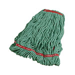 "Rubbermaid FGA21306 GR00 Large Wet Mop Head - 1"" Headband, 4-Ply Cotton/Synthetic Blend, Green"