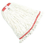 "Rubbermaid FGA21306 WH00 Large Wet Mop Head - 1"" Headband, 4-Ply Cotton/Synthetic Blend, White"