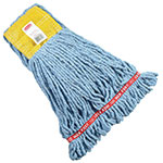 "Rubbermaid FGA25106BL00 Small Wet Mop Head - 5"" Headband, 4-Ply Cotton/Synthetic Blend, Blue"