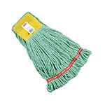 "Rubbermaid FGA25106 GR00 Small Wet Mop Head - 5"" Headband, 4-Ply Cotton/Synthetic Blend, Green"