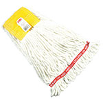 "Rubbermaid FGA25106 WH00 Small Wet Mop Head - 5"" Headband, 4-Ply Cotton/Synthetic Blend, White"