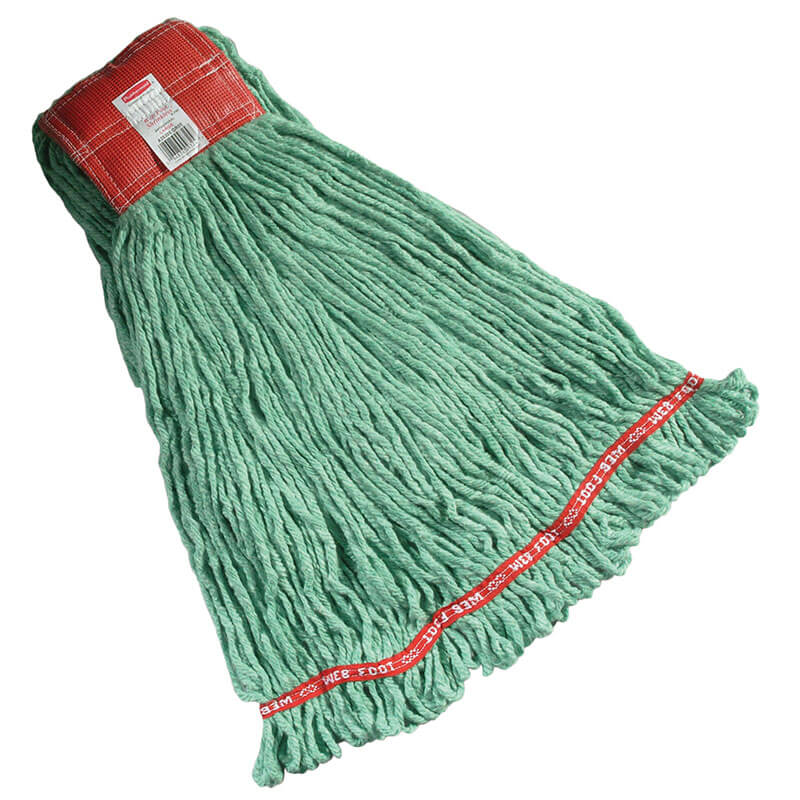 "Rubbermaid FGA25306 GR00 Large Wet Mop Head - 5"" Headband, 4-Ply Cotton/Synthetic Blend, Green"