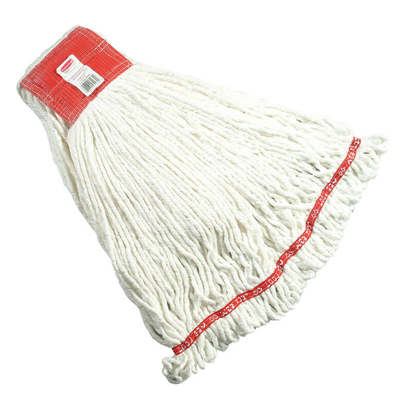 "Rubbermaid FGA25306 WH00 Large Wet Mop Head - 5"" Headband, 4-Ply Cotton/Synthetic Blend, White"