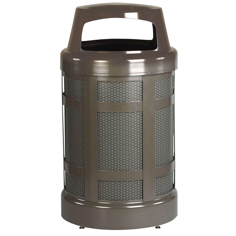 Rubbermaid FGA38ABZPL 38-gal Architek Waste Receptacle - Hinged Canopy Top, Bronze/Sand