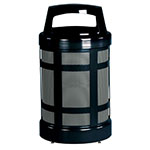 Rubbermaid FGA38BKPL 38-gal Architek Waste Receptacle - Hinged Canopy Top, Black/Anthracite