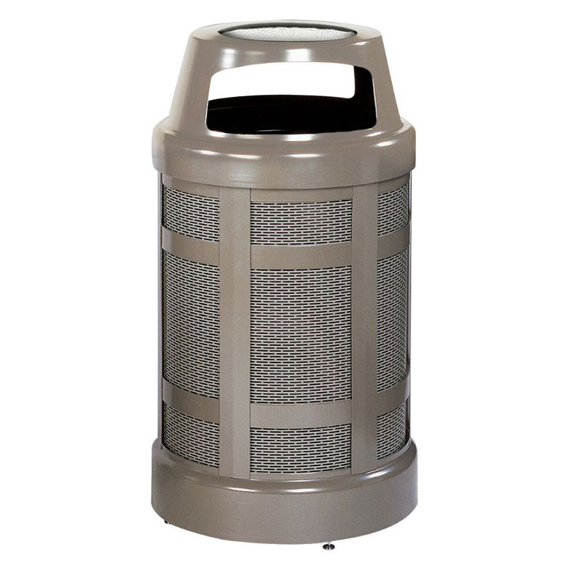 Rubbermaid FGA38SUABZPL 38-gal Architek Waste Receptacle - Canopy Hinged Urn Top, Bronze/Sand