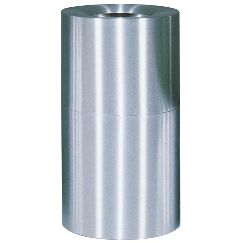 Rubbermaid FGAOT35SA 35-gal Designer Line Waste Receptacle - Open Top, Satin Aluminum