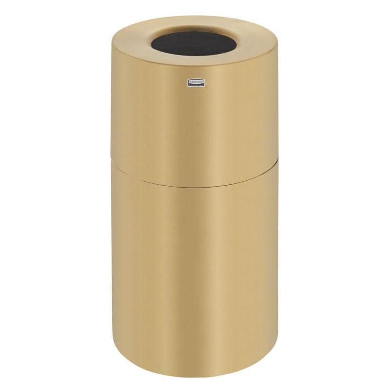 Rubbermaid FGAOT35SB 35-gal Indoor Decorative Trash Can - Metal, Satin Brass Aluminum