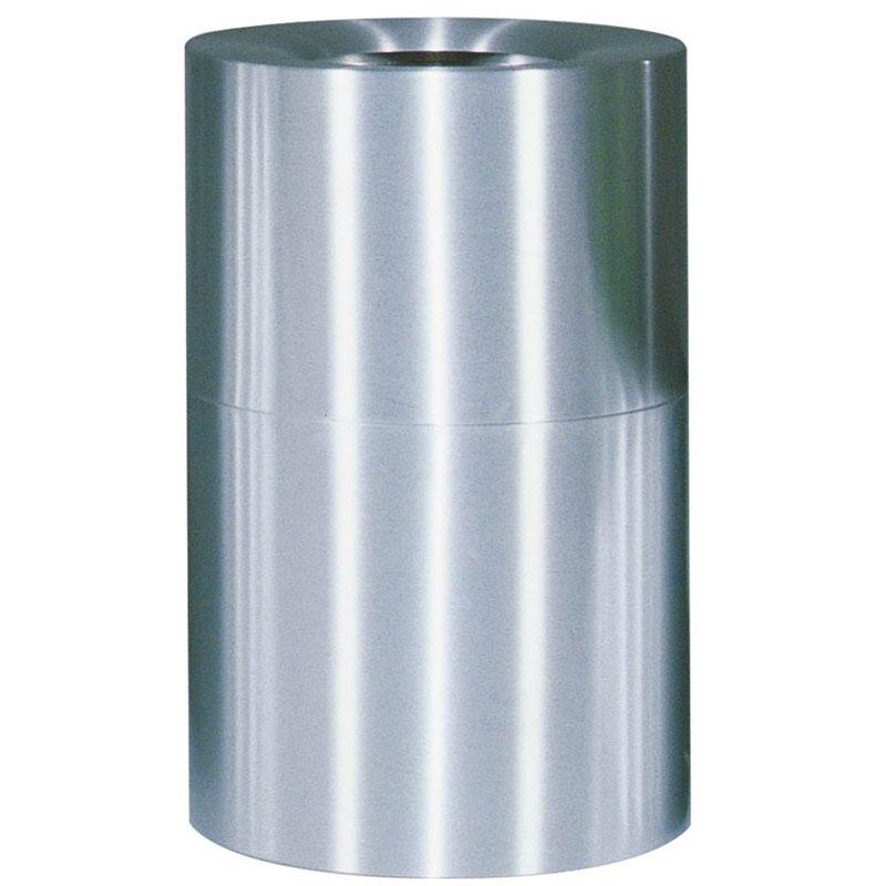 Rubbermaid FGAOT62SA 62-gal Designer Line Waste Receptacle - Open Top, Satin Aluminum