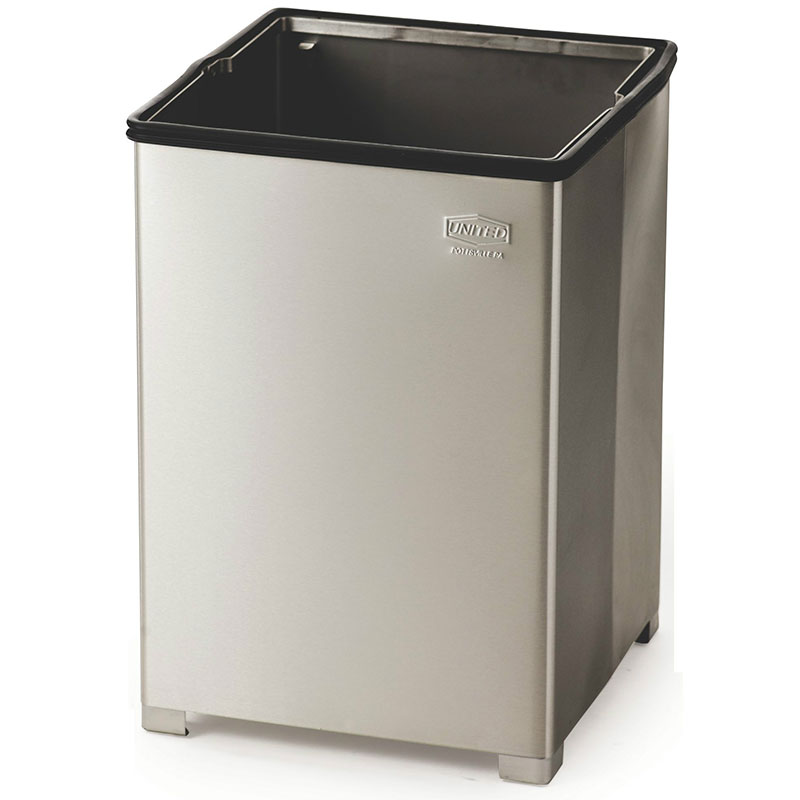 Rubbermaid FGB1414SSPL 10.5-gallon Commercial Trash Can - Metal, Square