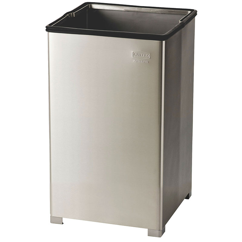 Rubbermaid FGB1940SSPL 29-gal Clean Room Waste Receptacle - Open Top, Rigid Liner, Stainless