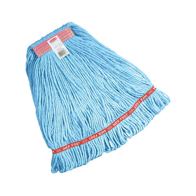 "Rubbermaid FGC11106 BL00 Looped-End Small Wet Mop Head - 1"" Headband, 4-Ply Cotton/Synthetic, Blue"