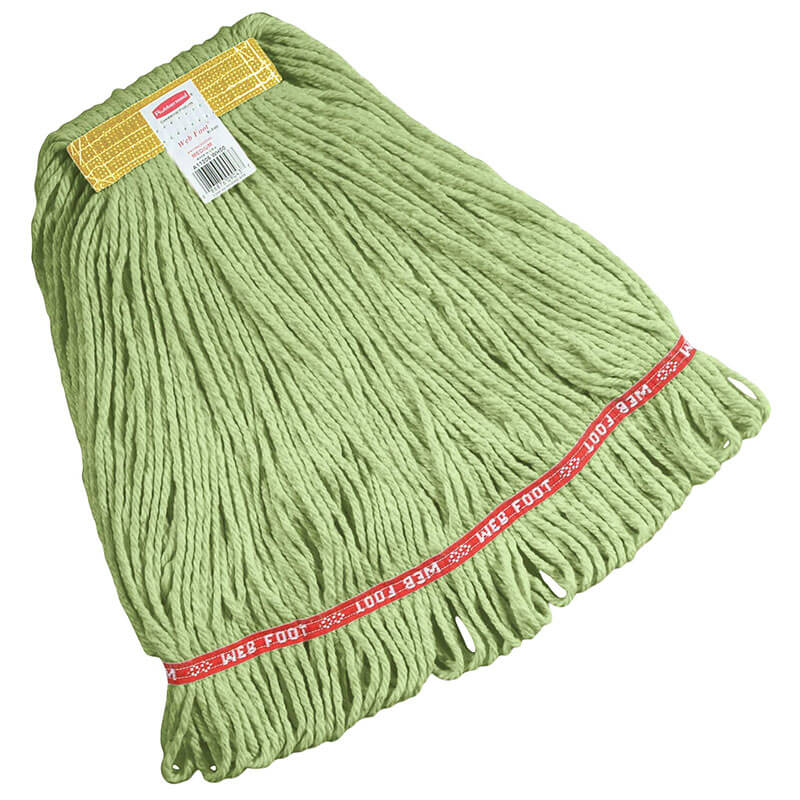 "Rubbermaid FGC11106 GR00 Looped-End Small Wet Mop Head - 1"" Headband, 4-Ply Cotton/Synthetic, Green"