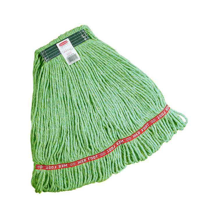 "Rubbermaid FGC11206 GR00 Looped-End Medium Wet Mop Head - 1"" Headband, 4-Ply Cotton/Synthetic, Green"