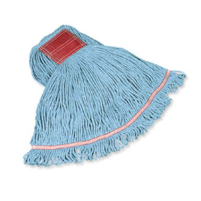 "Rubbermaid FGC11306  BL00 Looped-End Large Wet Mop Head - 1"" Headband, 4-Ply Cotton/Synthetic, Blue"