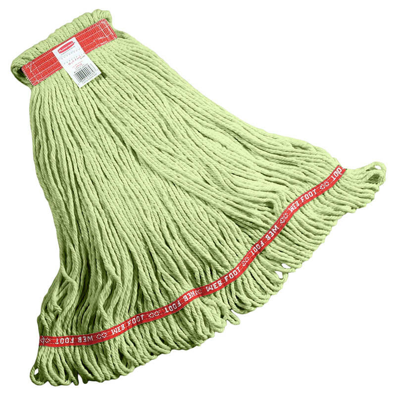 "Rubbermaid FGC11306  GR00 Looped-End Large Wet Mop Head - 1"" Headband, 4-Ply Cotton/Synthetic, Green"